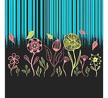 Hand Drawn Flower & Rain Scene Photographic Print