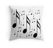 Musical notes on white background Throw Pillow
