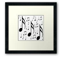 Musical notes on white background Framed Print