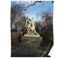 Wooden Sculpture/Lion vs Man/(1 of 3) -(190212)- digital photo Poster