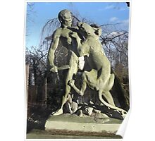Wooden Sculpture/Lion vs Man/(2 of 3) -(190212)- digital photo Poster