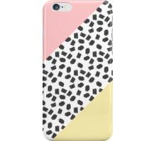 Yellow & Pink Color Blocks & Black Brushstrokes iPhone Case/Skin