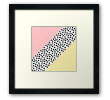 Yellow & Pink Color Blocks & Black Brushstrokes Framed Print