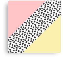 Yellow & Pink Color Blocks & Black Brushstrokes Canvas Print