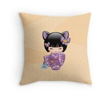 Japanese Nekomimi Kokeshi Doll Throw Pillow
