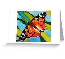 Painted lady butterfly on silk Greeting Card