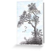 PENDRAWING TREE - BACKGROUND AQUAREL Greeting Card
