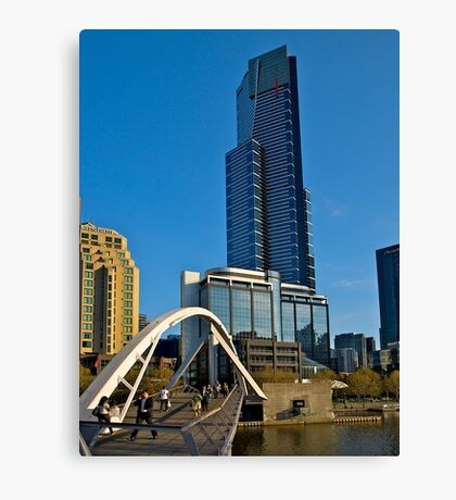Eureka Tower, Yarra River Footbridge, Melbourne. Canvas Print