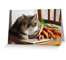 Tabby Calico Cat with Carrots Greeting Card