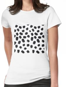 Hand Painted Brush Polka Dot Texture Womens Fitted T-Shirt