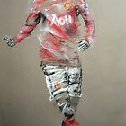 Berbatov - Manchester United footballer, charcoal sketch drawing by Paulette Farrell