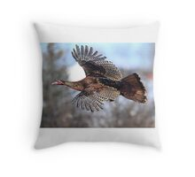 Turkey Flying - Wild Turkey Throw Pillow