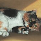 """Calico Cat No.3, """"Ready for my Tummy Rub!"""" by Pam Humbargar"""