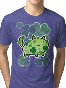 Green Clover Cat Tri-blend T-Shirt