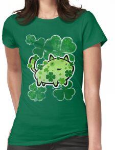 Green Clover Cat Womens Fitted T-Shirt
