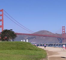 Crissy Field and Golden Gate Bridge by Barrie Woodward