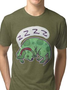 Sleepy Green Puppy T-shirt Tri-blend T-Shirt
