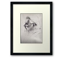"""""""The old man thinks"""" - original pencil drawing on paper Framed Print"""
