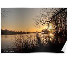Setting Sun Over the Lake Poster
