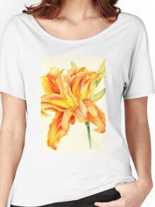 Double Daylily Hemerocallis orange watercolor Women's Relaxed Fit T-Shirt
