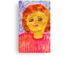 Cutie with red hair, watercolor Canvas Print