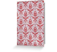 Red and White Damask Pattern Greeting Card