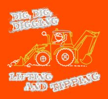 Dig, Dig, Digging tractor construction graphic Kids Tee
