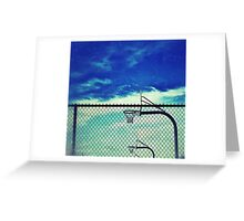 Basketball hoops inside fence at Wells Middle School, Dublin California Greeting Card