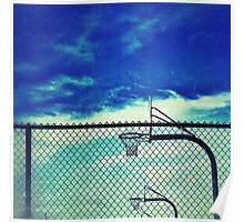 Basketball hoops inside fence at Wells Middle School, Dublin California Poster