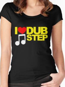 I LOVE DUBSTEP (YELLOW)  Women's Fitted Scoop T-Shirt
