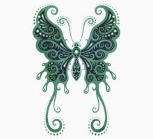 Intricate Teal Blue Vintage Tribal Butterfly Kids Tee