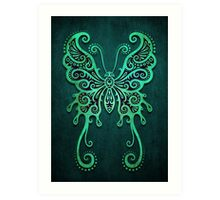 Intricate Teal Blue Vintage Tribal Butterfly Art Print
