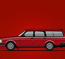Volvo 245 Brick Wagon 200 Series Red by Tom Mayer