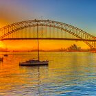 Sydney Harbour bridge - gold to blue by Christina Brunton