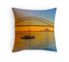 Sydney Harbour bridge - gold to blue Throw Pillow
