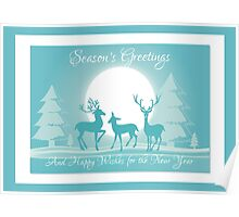 Night Reindeer Christmas Greeting  Poster