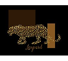 Golden Leopard Modern Gilt wild cat, gold black brown Photographic Print