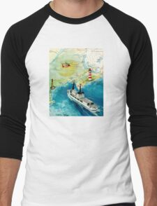 USCGC CHASE Helicopter Lighthouse Map Cathy Peek Men's Baseball ¾ T-Shirt