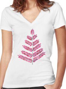 Pink Leaflets Women's Fitted V-Neck T-Shirt
