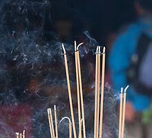 Tin Hau Temple, Shek O, Hong Kong - joss sticks by David Clarke