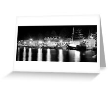 Port Fairy Boat Harbour at Night B&W Greeting Card