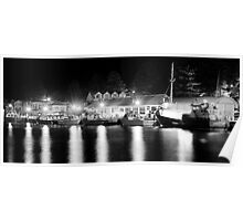 Port Fairy Boat Harbour at Night B&W Poster