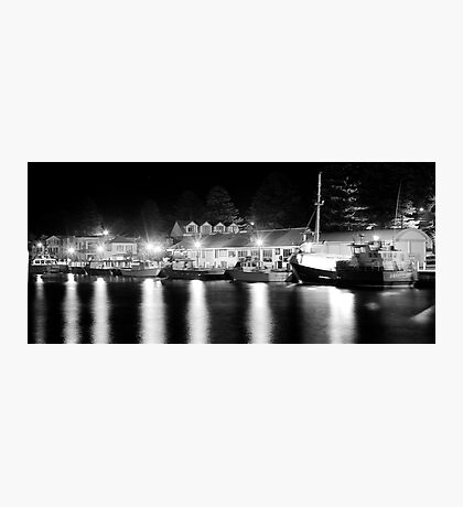 Port Fairy Boat Harbour at Night B&W Photographic Print