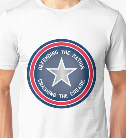Defending the Nation. Crashing the Crease. Unisex T-Shirt