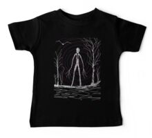 dark creepy slender man in forest on Halloween by Tia Knight Baby Tee