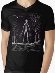 dark creepy slender man in forest on Halloween by Tia Knight Mens V-Neck T-Shirt