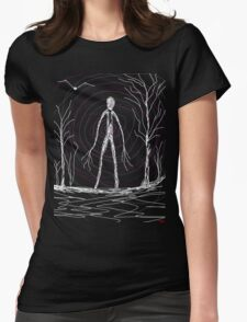 dark creepy slender man in forest on Halloween by Tia Knight Womens Fitted T-Shirt