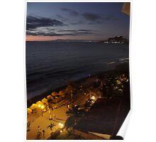 Olas Altas Beach at Night - Noche en Olas Altas Poster