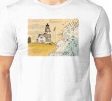 Cape Elizabeth Lighthouse ME Map Cathy Peek Chart Unisex T-Shirt