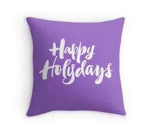 Modern Happy Holydays Holy Days Religious Christmas Holidays Hand Lettering - Purple Throw Pillow